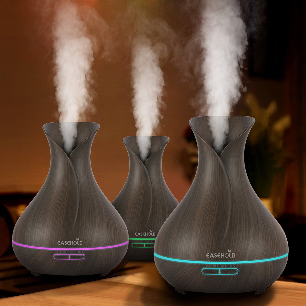 EASEHOLD 400ml Aroma Essential Oil Diffuser Ultrasonic Air Humidifier With Wood Grain 7 Color Changing LED Lights Electric WorkEASEHOLD 400ml Aroma Essential Oil Diffuser Ultrasonic Air Humidifier With Wood Grain 7 Color Changing LED Lights Electric Work