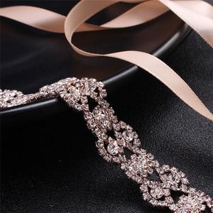 Image 2 - Jonnafe Rose Gold Color Women Prom Dress Waist Sash Rhinestone Bridal Headband Belt Wedding Accessories