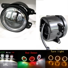 2pcs 4 Inch 60W Projector lens LED Fog Lights Halo Ring Angle Eye Fits Jeep Wrangler Jk TJ LJ Fog Lamp