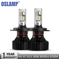Oslamp H4 Hi Lo Beam H7 H11 LED Car LED Headlight Bulbs ZES Chips 60W 8000LM