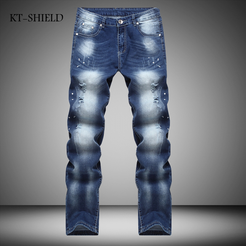 Famous Brand Vintage Men Designer Casual Hole Ripped Jeans Mens Fashion Skinny Denim Cargo Pants Hip-hop Male Distressed Jeans fashion mens male pants brand zipper jeans men hip hop pants slim hole patch casual jeans fashiontrouser for men free shipping