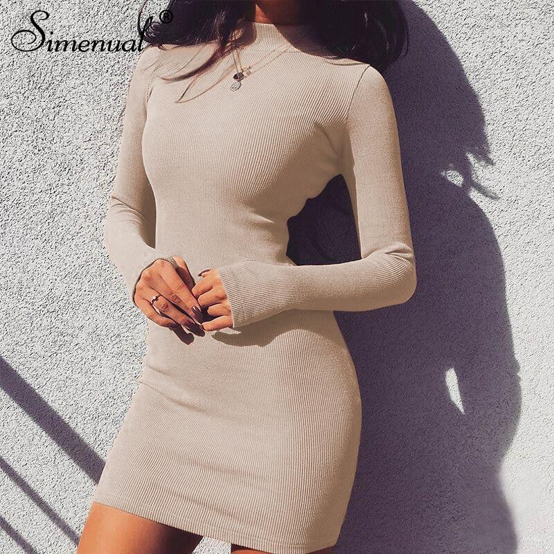 09886a6aea2d Simenual Half turtleneck women dresses sexy slim streetwear long sleeve  cotton fitness dress femme spring 2019
