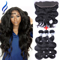 Alicrown Full Frontal Lace Closure 13x4 With Bundles Body Wave 3 Bundles With Frontal Brazilian Body Wave Hair Weft With Closure