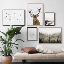 Red Deer Bird Forest Snow Mountain Wall Art Canvas Painting Nordic Posters And Prints Animal Pictures For Living Room Decor