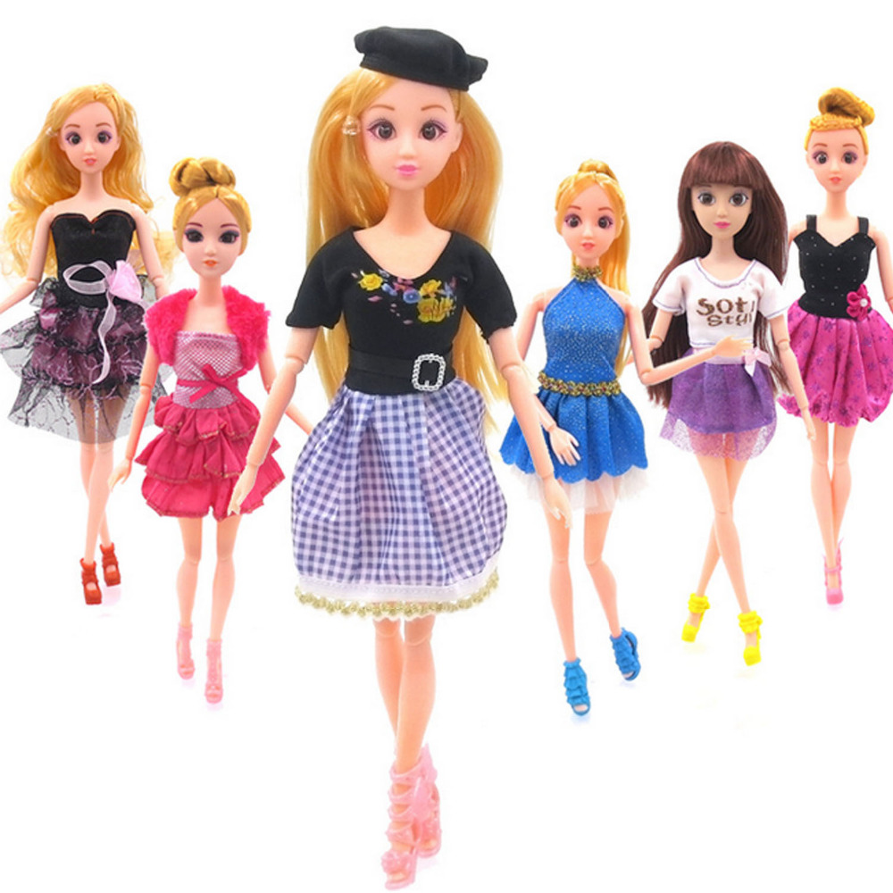 Satkago 10 PCS Fashion Girl Doll Toy Dresses Gown Outfits Clothes with 10 Pair Shoes for Barbie Toys Girls Gift Random Style