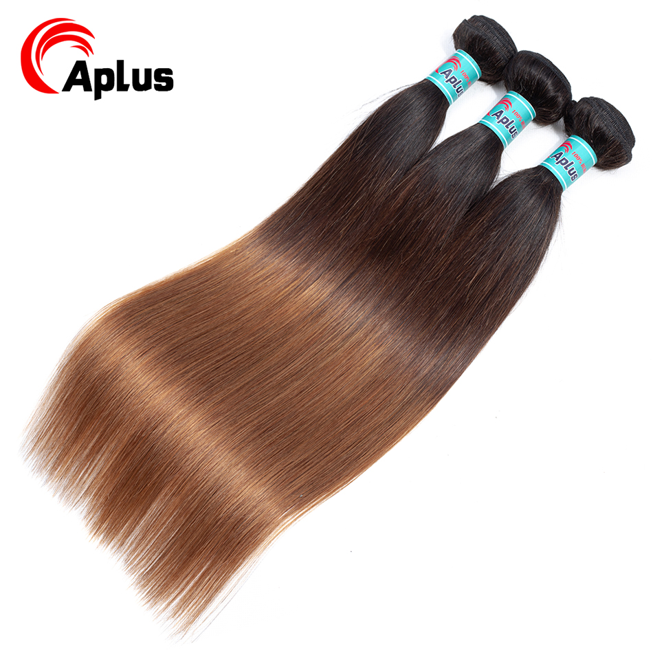 Non-Remy Hair-Extensions Human-Hair Deals Colored Straight Three-Tone 3-Bundles Ombre title=