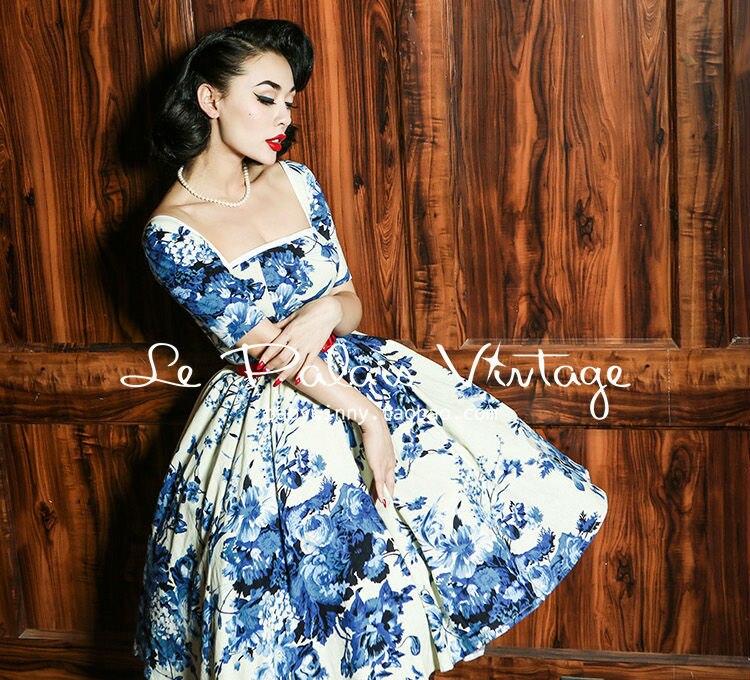 Le Palais Vintage Elegant Retro Classic Blue And White Porcelain Cotton Waist Dress/ball Gown