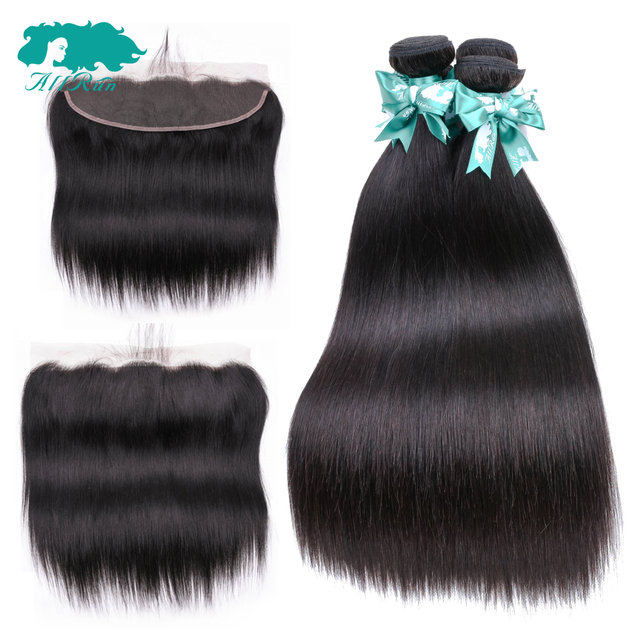 AllRun Hair Straight Human Hair Frontal With Bundles Brazilian Hair Weave Bundles With Lace Frontal Closure Hair Extension Remy