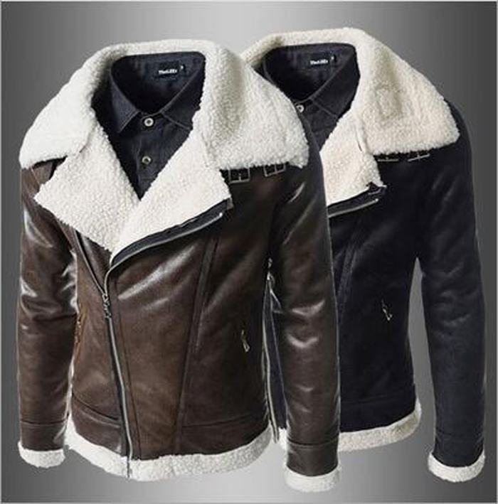 Winter Fur Leather Jacket Mens Suede PU Leather Jackets Men Faux Fur Thick Warm Long lambskin leather men's fur jacket #v64