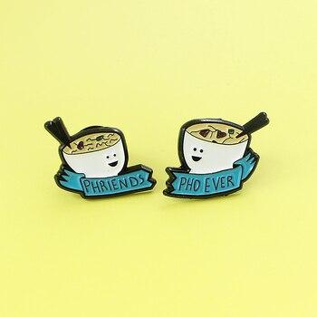 2 sztuk Cartoon PHRIENDS PHO kiedykolwiek biały miska smiley face niebieską wstążką moda filiżanka herbaty odznaka Pin Cartoon śliczne kostium biżuteria prezenty