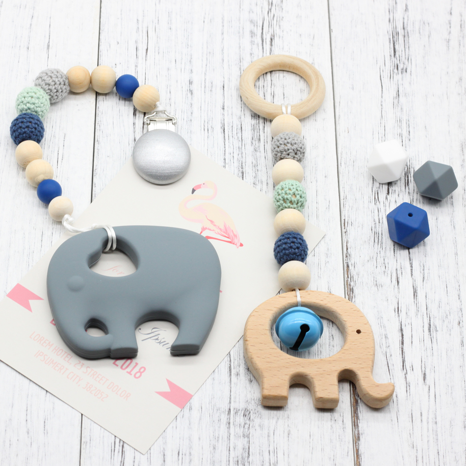 2pcs Wood Baby Play Gym Can Chew Beech Baby Teething Beads Silicone Shower Gift Bed Toys Child Teether Baby Rattles