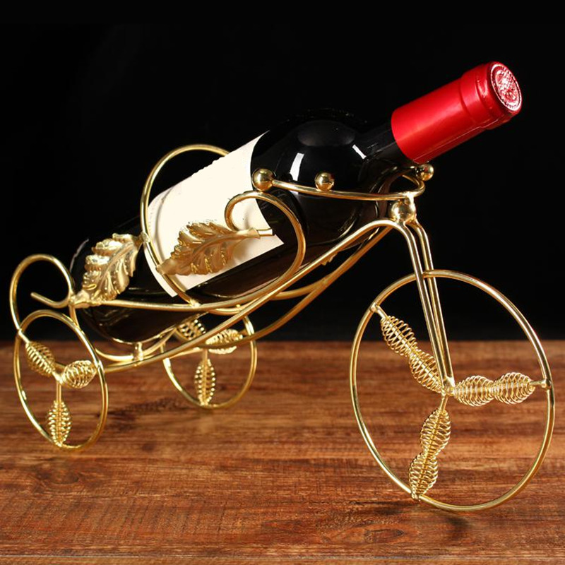 Wine Racks Handmade Plating Antique Holder Innovative Tricycle Style Wine Rack Beer Whisky Bottles Holder Decor Display Shelf