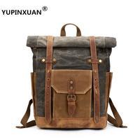 YUPINXUAN Oil Wax Cotton Canvas Vintage Cow Leather Waterproof Backpacks Teenagers Retro Designer Unisex Daypacks Unisex