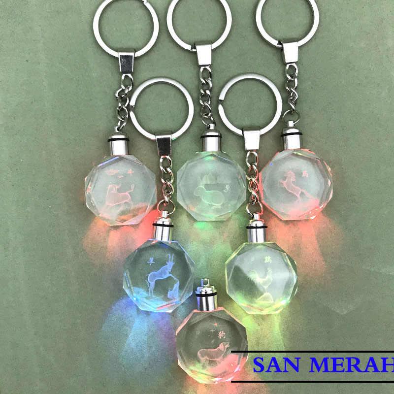LED בעלי החיים גלגל המזלות מפתח טבעת כיסוי ארנב טבעות Elf אנימה Keychain Keychain רכב אביזרי פלאש הדרקון קוף כבשים קונג פו פנדה