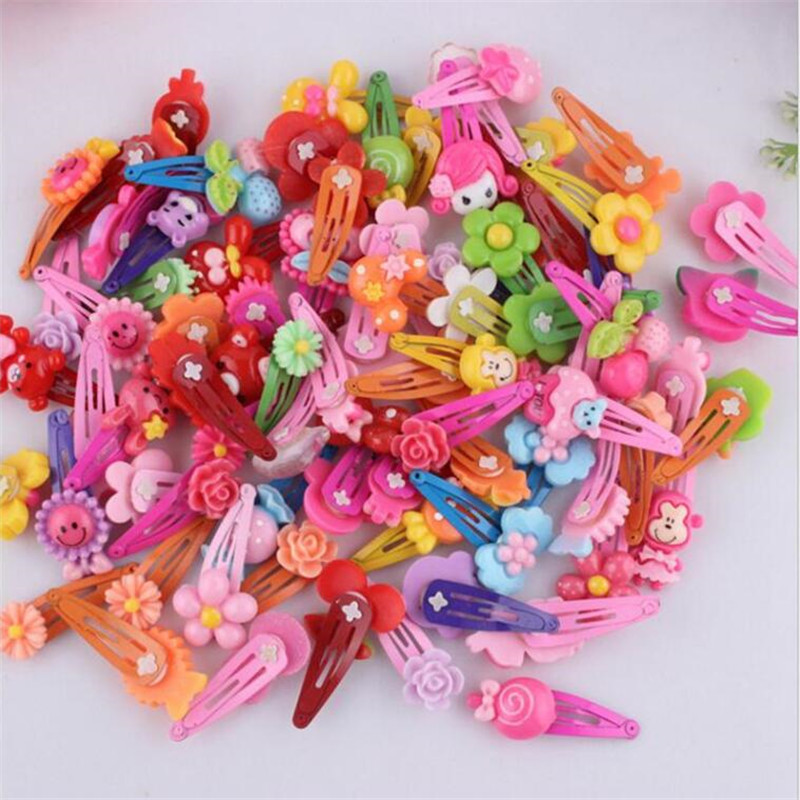 20Pcs/Lot Fashion Children Hairpin Acrylic Barrette BB Clip Cartoon Flower Bow Baby Hairpins Kids Hairgrip Girl Hair Accessories