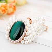 V062700H pretty green pedra branca simulado pulseira pérola liga rose lady estilo da cor do ouro com a Áustria cristal moda jóias