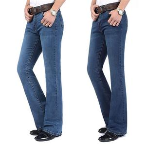 Image 3 - משלוח חינם גברים של באיכות גבוהה עסקי מזדמן אתחול לחתוך ג ינס אמצע מותניים אבוקות התלקח חצי תחתון מכנסיים בתוספת גודל 27 38