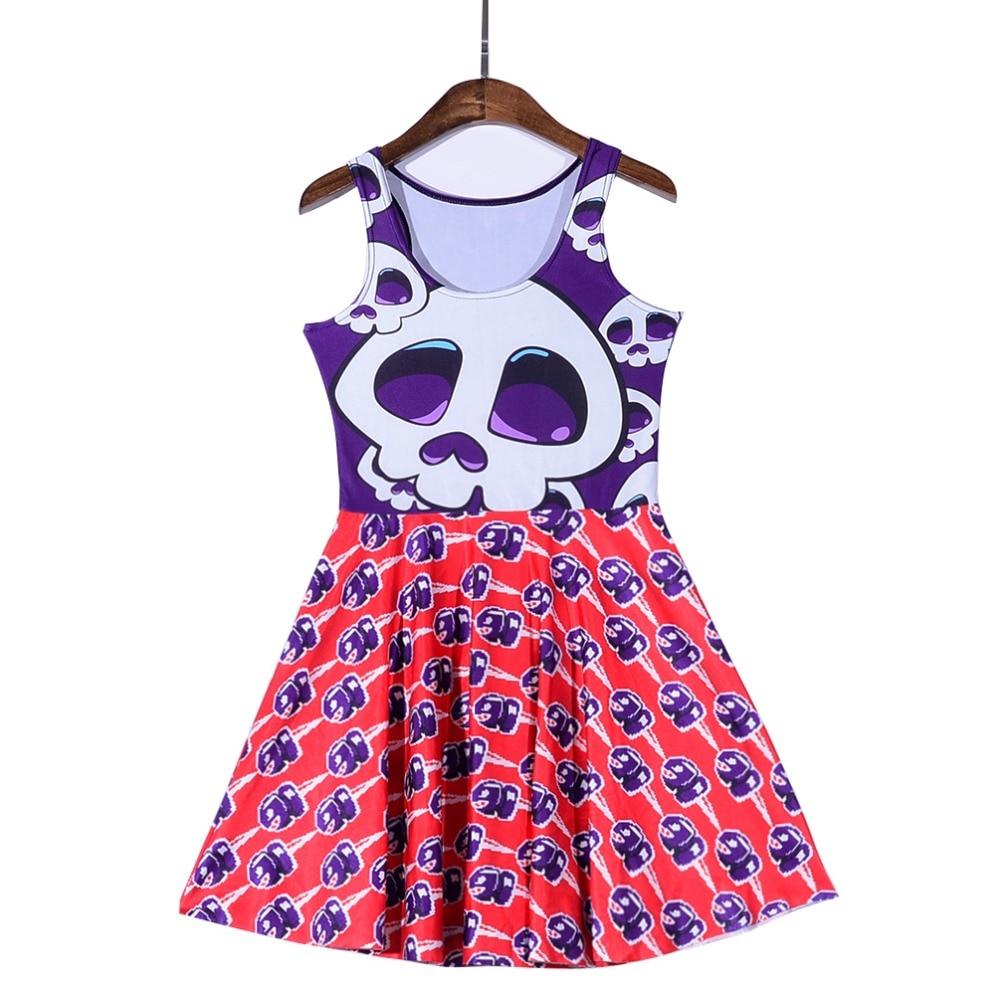 NEW Black Milk 1169 Sexy Girl Women Summer cartoon purple skull shark 3D Prints Vest Reversible Sleeveless Skater Pleated Dress