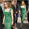 Newest 2017 Designer Runway Dress Women's Sexy Sheath Bodycon Banana Leaves Embroidery Bee Beading Green Fold Strap Dress