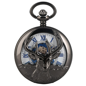 Image 4 - جديد وصول 2019 ريترو الأسود الماعز رئيس تصميم نصف هنتر الميكانيكية اليد لف ساعة جيب الأرقام الرومانية الأزرق قلادة ساعة