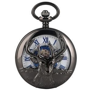 Image 4 - New Arrival 2019 Retro Black Goat Head Design Half Hunter Mechanical Hand Winding Pocket Watch Blue Roman Numerals Pendant Clock