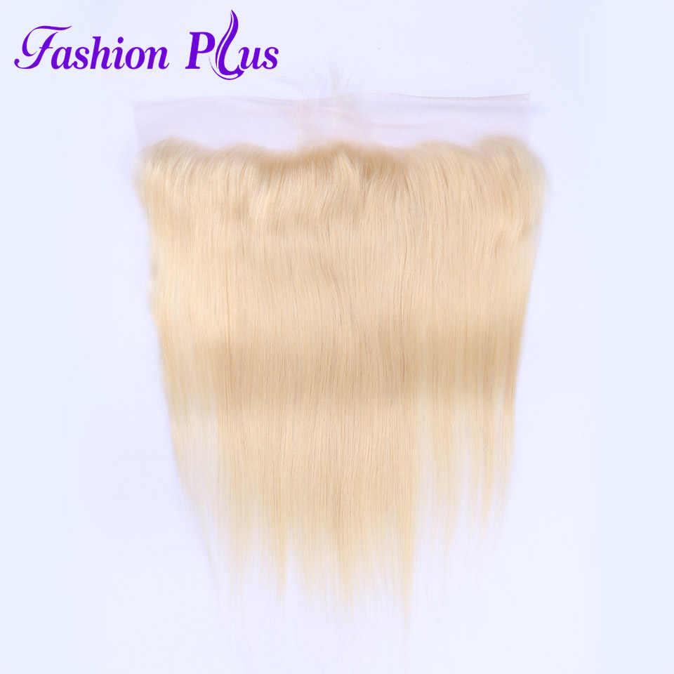Мода плюс 613 блондинка прямые бразильские волосы переплетения натуральные волосы Связки с синтетическое закрытие волос 3 шт. волосы remy 13x4 синтетический Frontal