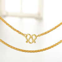 Solid Pure 999 24K Yellow Gold Necklace Women Wheat Link Chain Necklace P6281