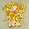 2016 New 7x9cm 3X4 Inch 100pcs Yellow Rose Flower Drawstring Organza Jewelry Organizer Pouch Satin Christmas Wedding Gift Bag