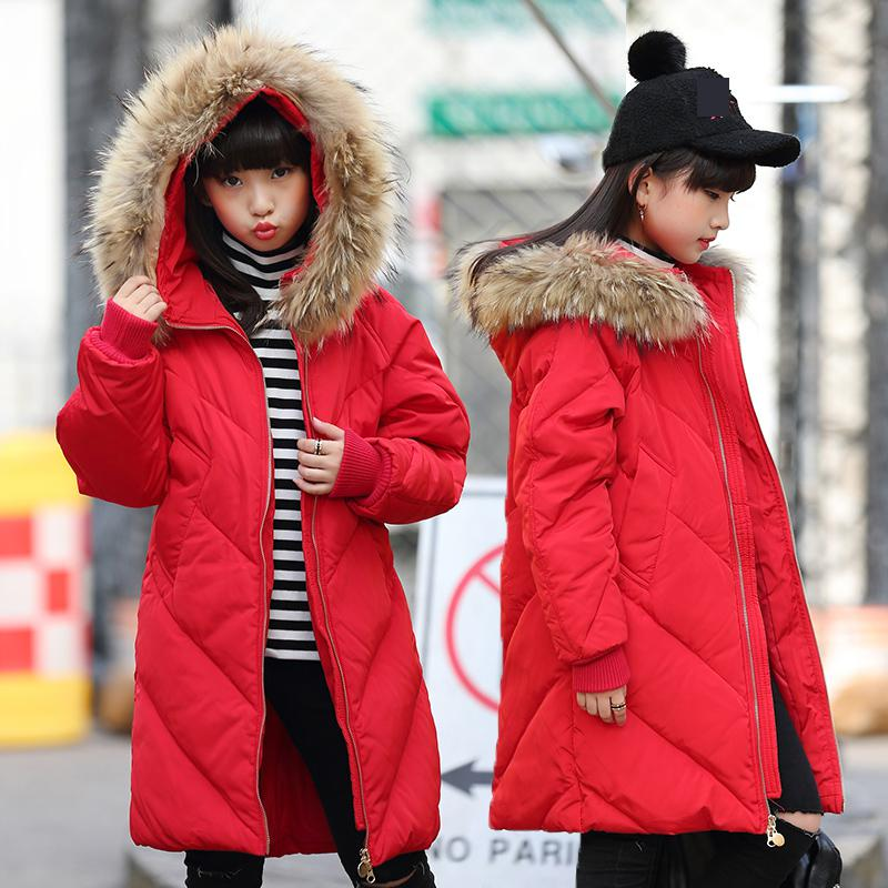 Long Girls Duck Down Coats Russian Winter Thick Warm Children Coats With Fur Hooded Girls Jackets Kids Outwear For Winter 13 14 kids clothes children jackets for boys girls winter white duck down jacket coats thick warm clothing kids hooded parkas coat