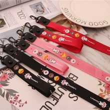 Lovely pattern DIY ribbon men and women bag car mobile phone shell pendant key ring charm short and long phone bag wallet animat(China)