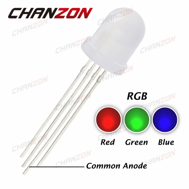 50pcs 10mm RGB LED Diffused Lights Common Anode 20mA Tricolor Red Green Blue 10 mm Diffused Round LED Light-Emitting Diode Lamp