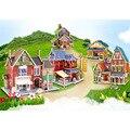 Дети Головоломки 3D Деревянные Головоломки Строительство Дома Игрушки детские Образовательные Шале Деревянные Игрушки для Подарок На День Рождения DIY Модель Игрушки