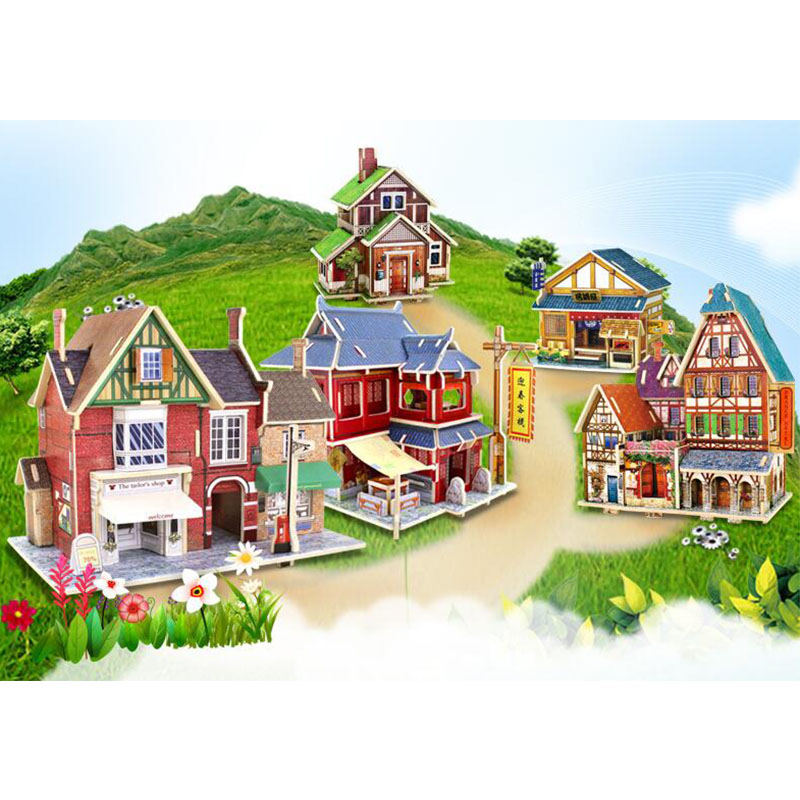 Kids Jigsaw 3D Wooden Puzzle House Building Toys Children's Educational Chalets Wood Toys for Birthday Gift DIY Model Toy qiyun 3 d wooden puzzle children and adult s educational building blocks puzzle toy pig model