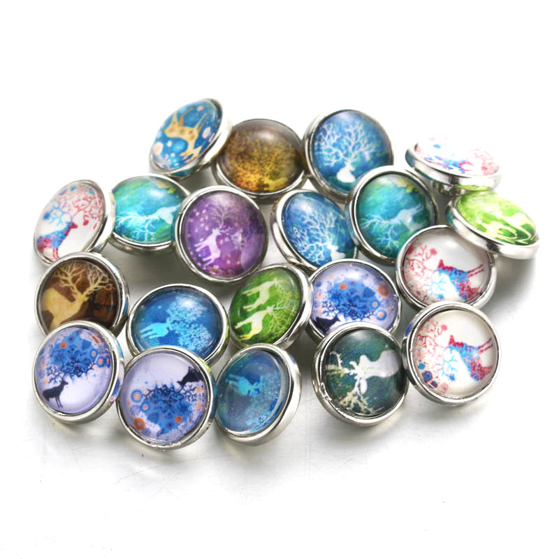 10pcs/lot Mixed Elk 12mm Glass snap button Jewelry glass Snap Fit snap Bracelet snaps jewelry For Women 050817