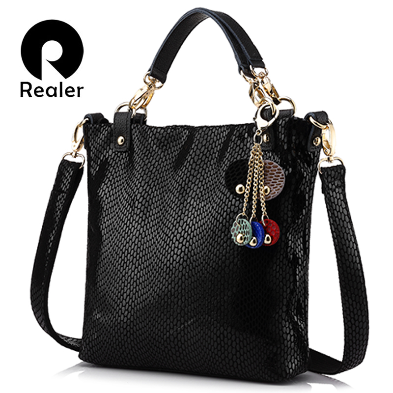 REALER woman genuine leather handbag female casual leather tote top-handle bag small shoulder bag for ladies messenger bags jianxiu brand genuine leather handbag female casual leather tote top handle bag large shoulder bag for women messenger bags 2017