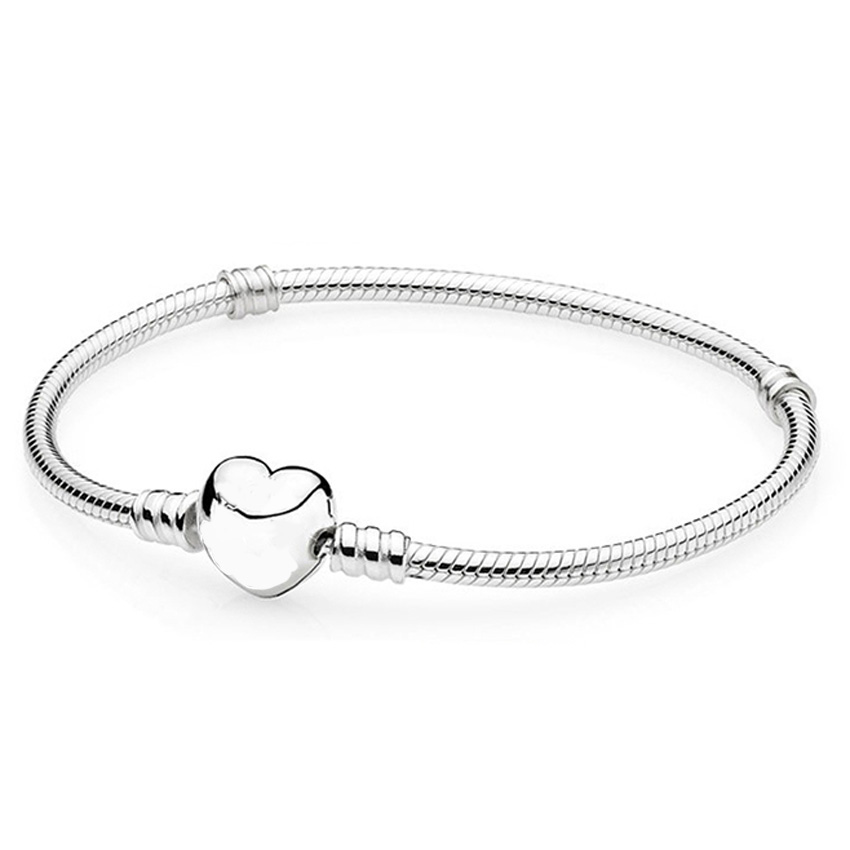 цена 925 Sterling Silver Bracelet Bangle Love Heart Clasp Snake Chain For Women fit Pandora Beads Charms Pendant DIY Jewelry