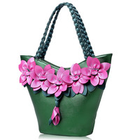 Luxury Women Leather Handbags Large Capacity Bolsa Feminina Saco De Ombro Handmade Flower Weaving Design Female
