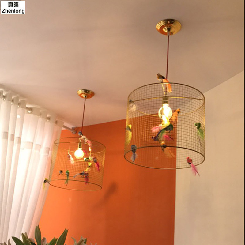Creative Bird Cage Restaurant Iron Birds Pendant Lights Lamp for Kitchen Lighting Dining Room Retro Clothing Store Pendant Lamp a1 clothing store dining room bedroom spider the heavenly maids scatter blossoms creative person pendant lights
