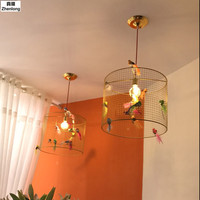 Creative Bird Cage Restaurant Iron Birds Pendant Lights Lamp for Kitchen Lighting Dining Room Retro Clothing Store Pendant Lamp