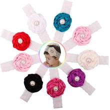 1PC Kids Baby Girls Luxury Headwear Lace+Cloth Toddler Cute New Brand Flower Hair Band Hair Accessories Headband Candy Colors(China)