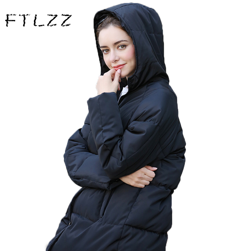 New 2017 Winter Jacket Women Cotton Padded Slim Hooded Parkas Solid Color Straight Barrel Wadded Coat /jacket Korean Elements hooded collar korean new 2014 winter clothing full sleeve solid down jacket slim women casual cotton padded coat ly1066