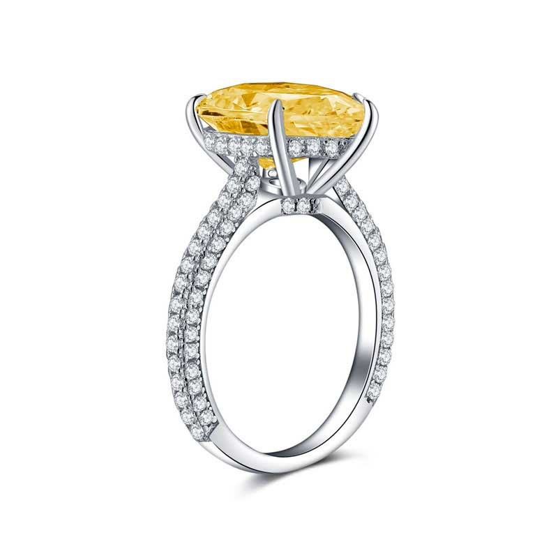 COLORFISH 925 เงินสเตอร์ลิง Zircon Pear Cut 5 ct แหวน 3 แถว Delicated pave band หินสีเหลืองหมั้นแหวน-ใน แหวนหมั้น จาก อัญมณีและเครื่องประดับ บน AliExpress - 11.11_สิบเอ็ด สิบเอ็ดวันคนโสด 3