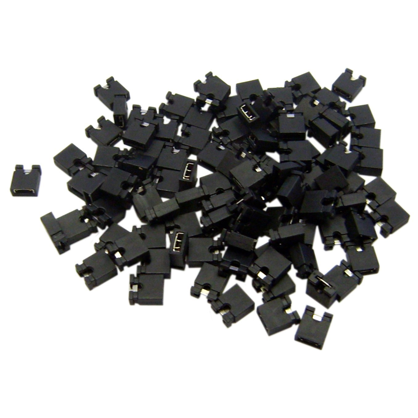 все цены на 200pcs Pin Header Jumper blocks Connector 2.54 mm for 3 1/2 Hard Disk Drive, CD/DVD Drive, Motherboard and/or Expansion Card онлайн