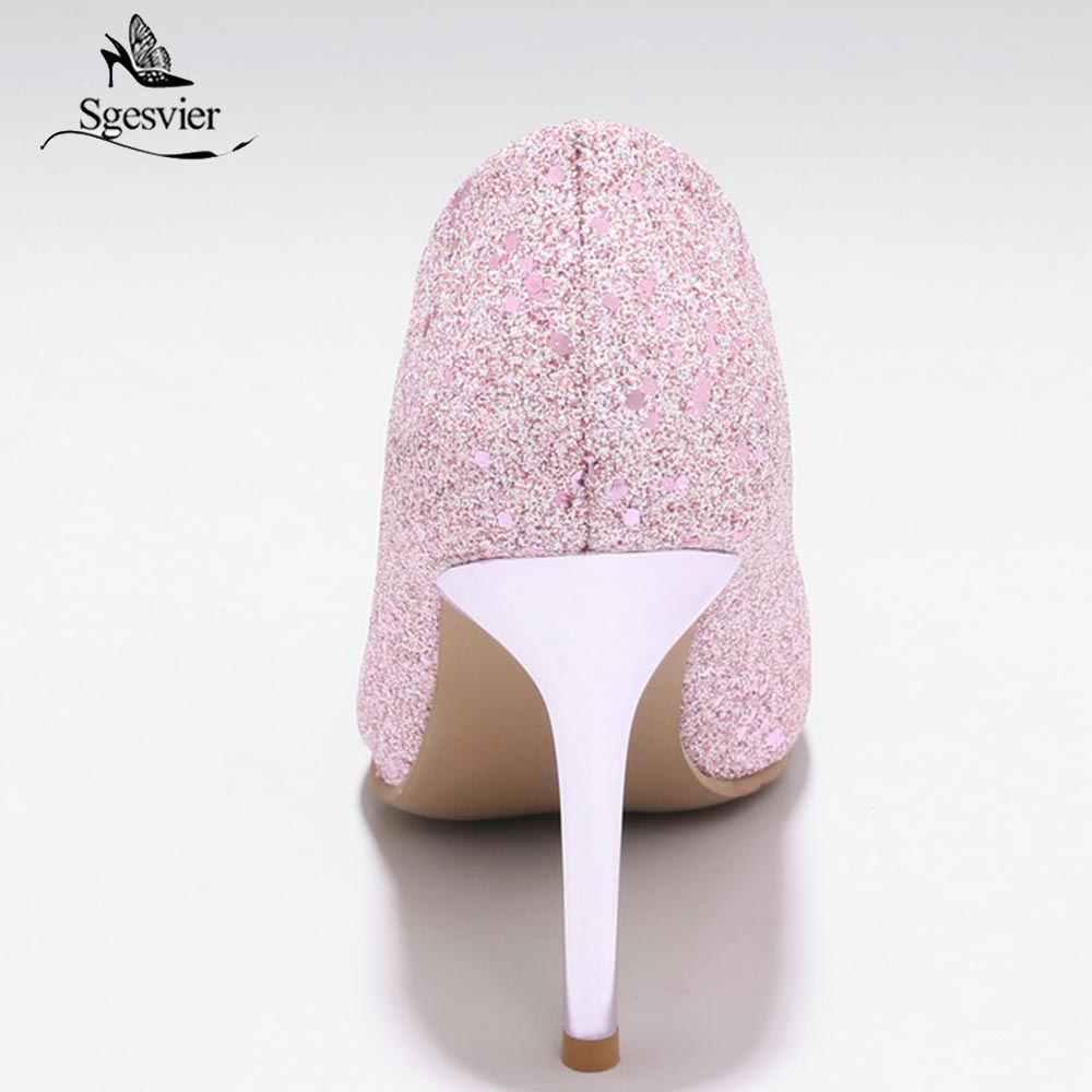 SGESVIER 2018 wiosna lato pompy buty kobieta Slip On cienkie czółenka na wysokim obcasie szpiczasty Toe różowe buty ślubne Lady Plus rozmiar OX287