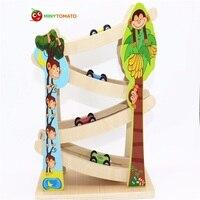 Freies Schiff kinder Weiche Montessori Klassischen Holz Eisenbahn Spielzeug 4 STÜCKE Mini auto neue marke hohe qualität geschenk für kinder & baby geburtstag