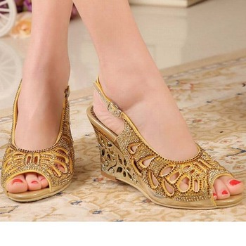 women hollow cut-outs wedges high heels sandals open toe summer comfortable wedge rhinestone stiletto heeled buckle ladies shoes