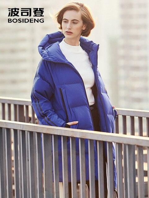 BOSIDENG зима 90% белый куртка на гусином пуху длинная парка на пуху для женщин гусиный пуховик свободные с капюшоном спортивные Высокое качество B70146230