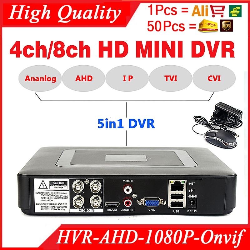 Smar Mini 4/8CH Pieno D1 H.264 HDMI Sistema di Sicurezza CCTV DVR 4/8 Canali 720 p 1080 p NVR ibrido AHD DVR Recorder Mobile HVR RS485