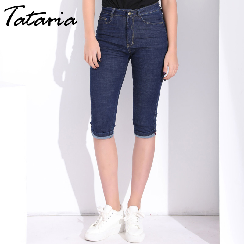 Active Plus Size Skinny Capris Jeans Woman High Waisted Jeans Female Summer Stretch Skinny Knee Length Denim Pants Jeans