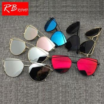 75e0398cfc RBROVO 2018 diseñador De la marca De ojo De gato Gafas De Sol De las mujeres  Vintage Metal reflectante para mujeres espejo Retro Gafas De Sol De Gafas